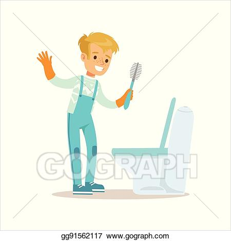 Brush clipart bathroom. Vector art boy in