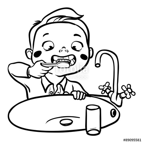 Brushing teeth drawing at. Brush clipart black and white