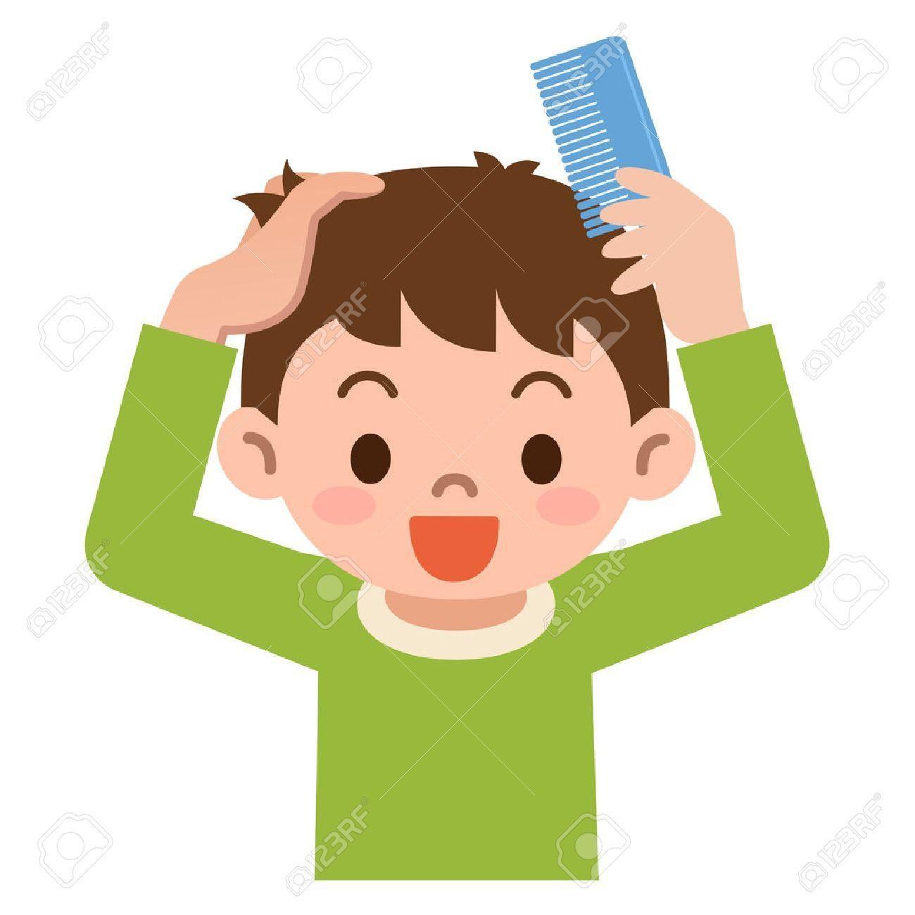 Brushing hair korhek org. Brush clipart boy