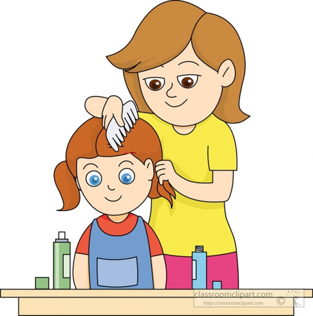 Combing hair child for. Brush clipart boy