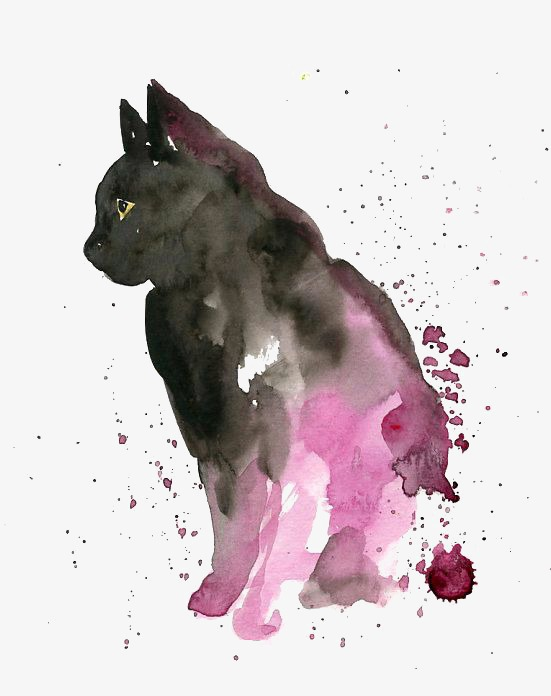 Brush clipart cat. Kitty painted watercolor creative