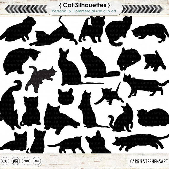 Brush clipart cat. Clip art silhouettes kitten