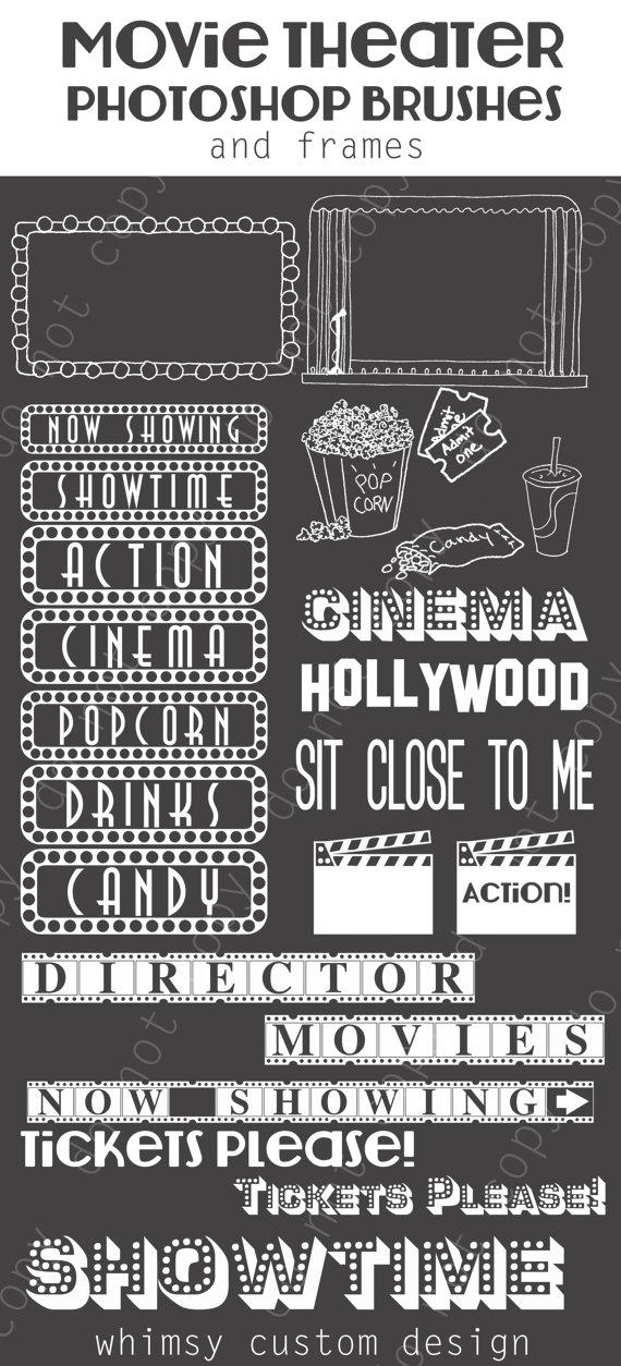 Movie theater cinema photoshop. Brush clipart chalkboard