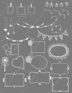 Brush clipart chalkboard. Clip art vector doodle