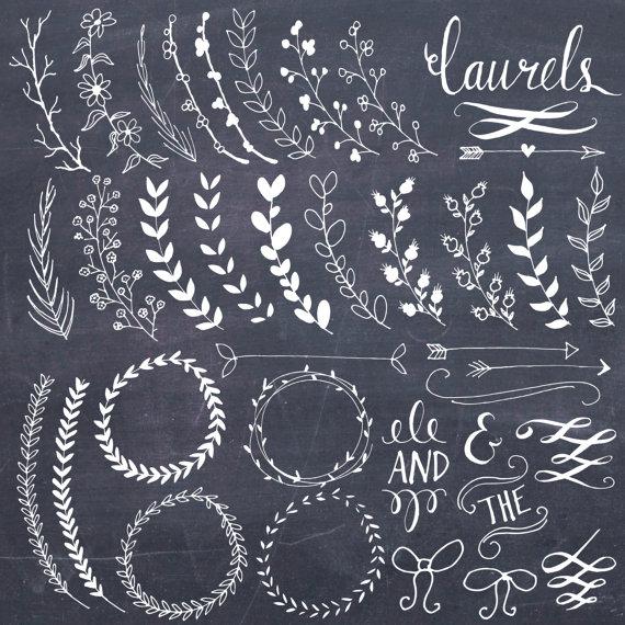 Brush clipart chalkboard. Clip art laurels wreaths