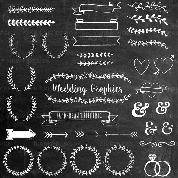 Wedding rustic boho clip. Brush clipart chalkboard