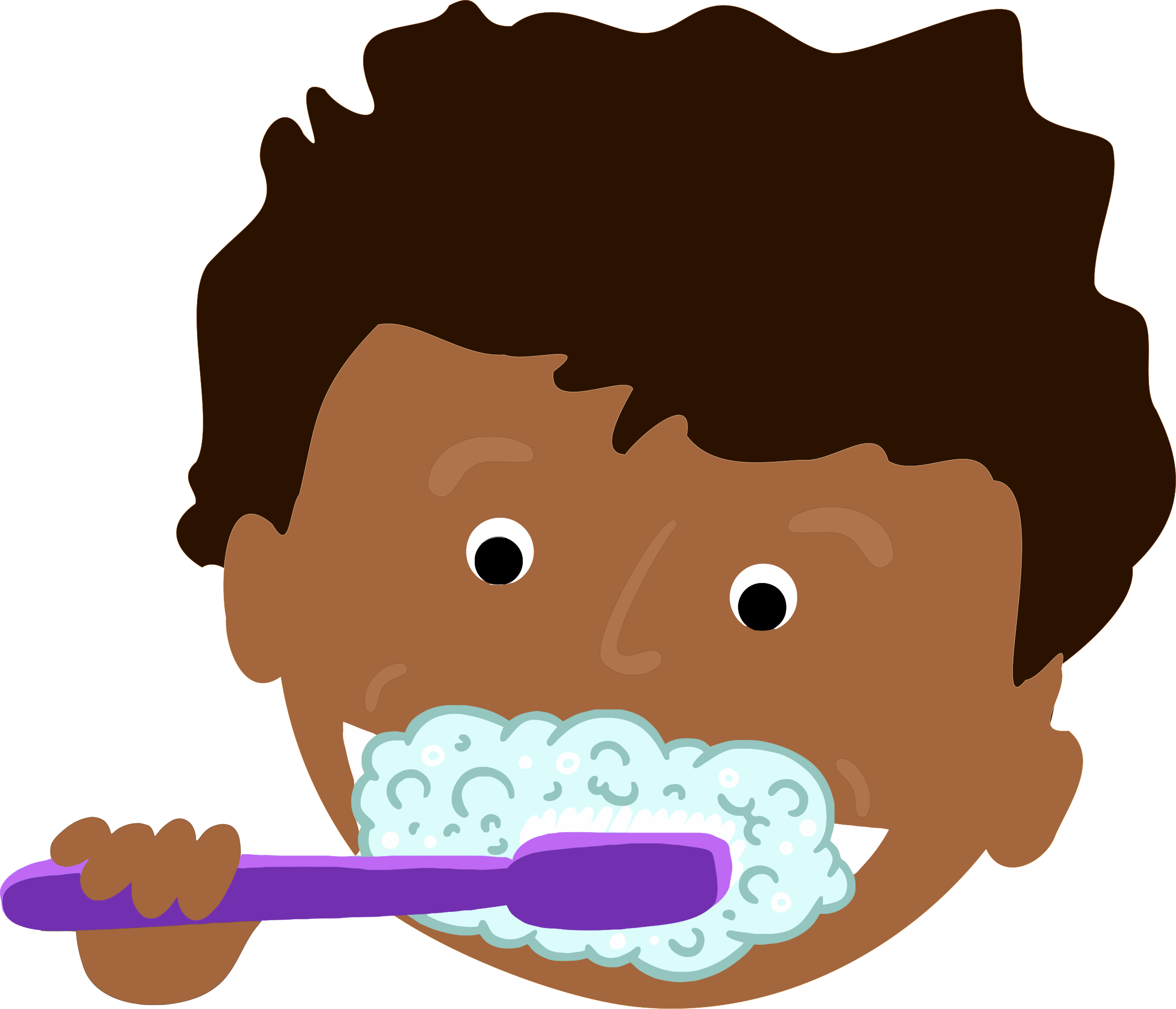 African kid brushing teeth. Mouth clipart brush