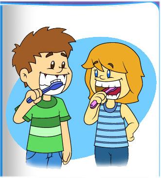 Kids Brushing Teeth Clipart