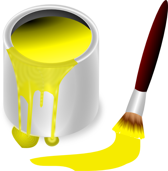 Yellow with brush clip. Painter clipart red paint bucket