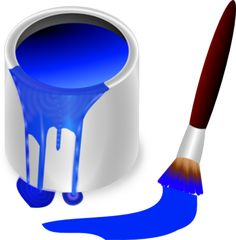 Free color bucket red. Brush clipart colour