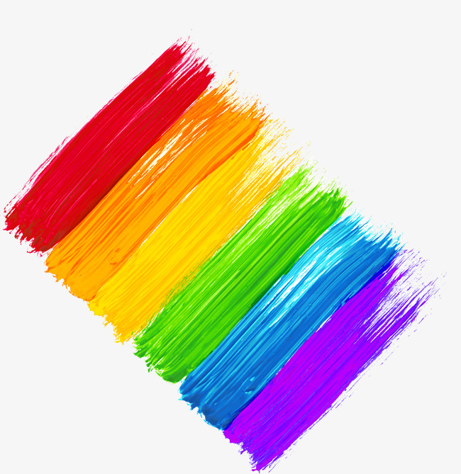 Rainbow pigment pattern paint. Brush clipart colour