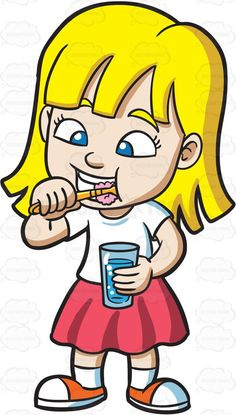 Brush clipart cute. An adorable girl brushing