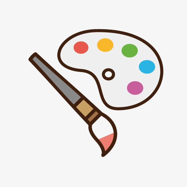 Brush clipart cute. Paintbrush palette png image