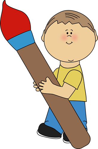 Boy Holding a Giant Paint Brush Clip Art