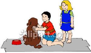 A child brushing royalty. Brush clipart dog brush