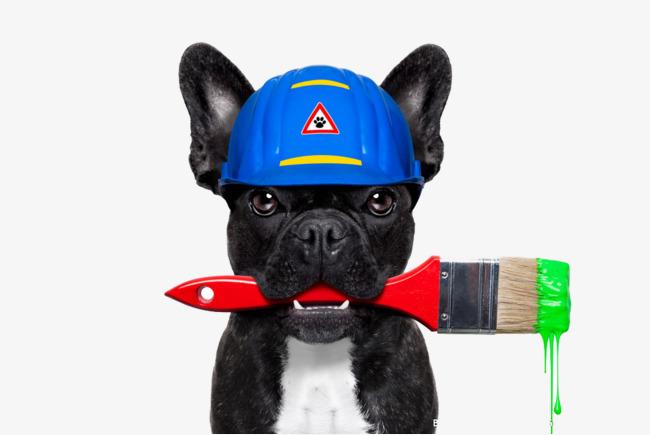 Dangling paint brushes bulldog. Brush clipart dog brush