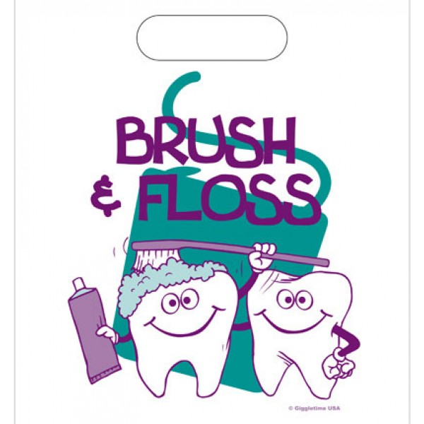 Patient take home bags. Brush clipart floss