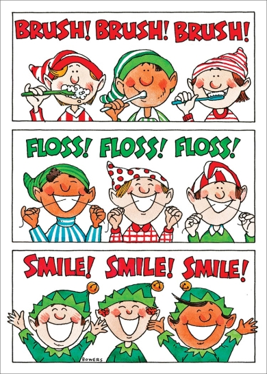 And cartoon holiday cards. Brush clipart floss