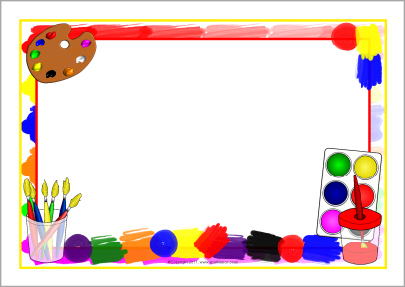 Brush clipart frame. Painting themed a page