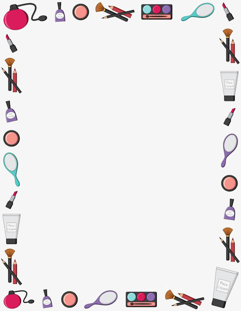 Brush clipart frame. Makeup border rectangular make