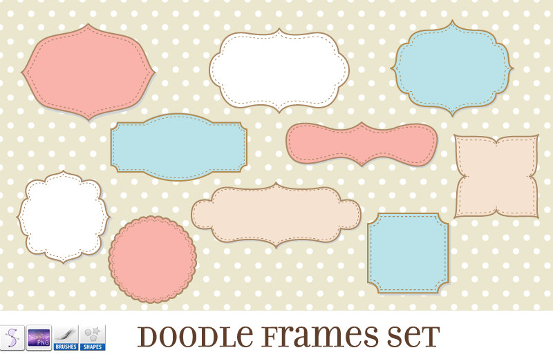 Journal tags doodle frames. Brush clipart frame