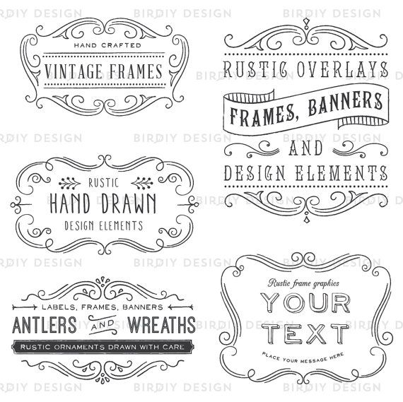 Photoshop overlay vintage frames. Brush clipart frame