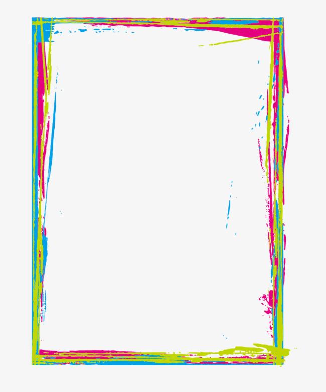 Color inkjet border png. Brush clipart frame