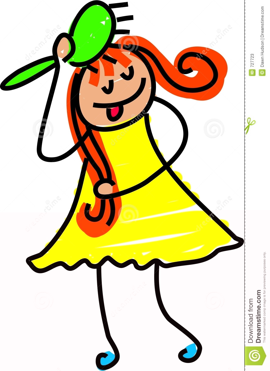 Brush clipart hair brush. Brushing hairbrush girl in