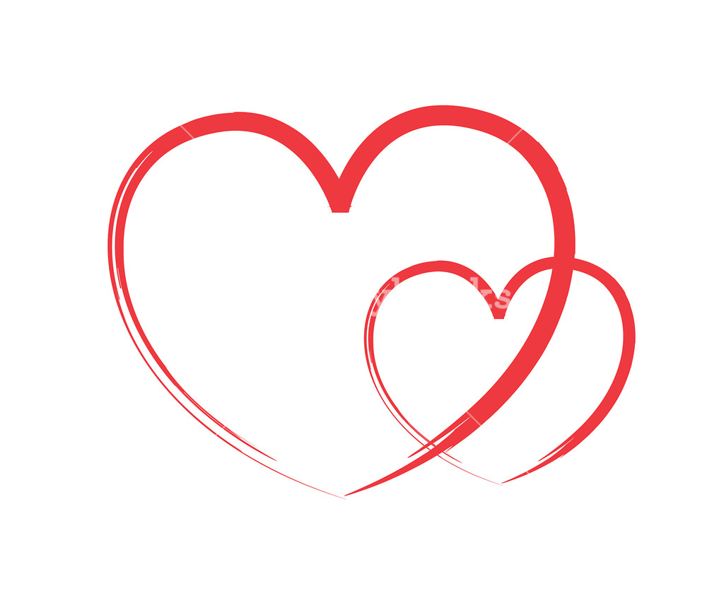 Brush clipart heart. Two hearts made with