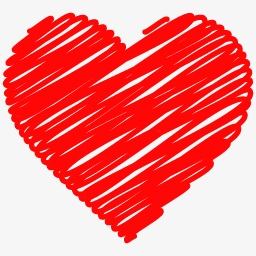 Brush clipart heart. Shaped hand painted red