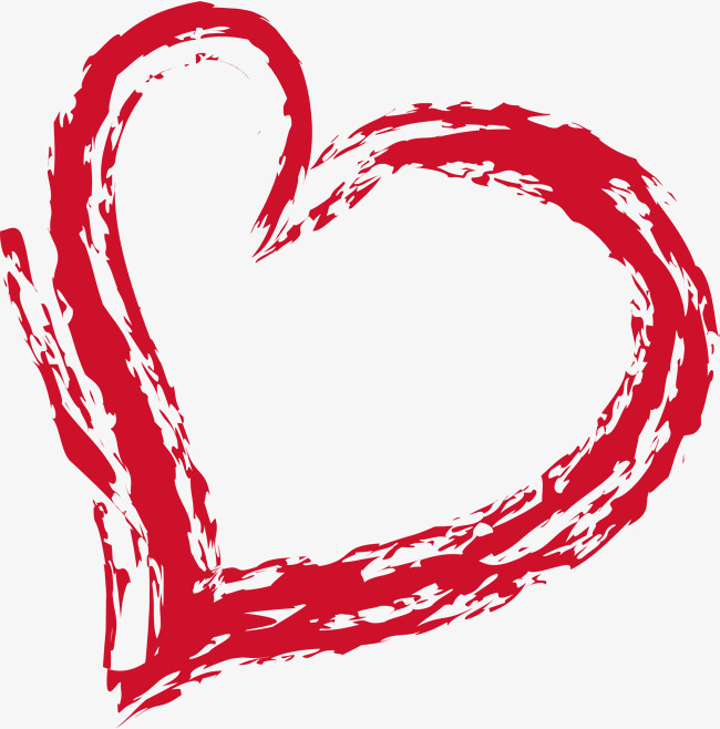 Red ink shaped png. Brush clipart heart