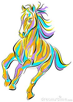 Fast running drawing quotes. Brush clipart horse