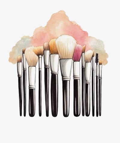 Brush clipart makeup. Cartoon watercolor png image