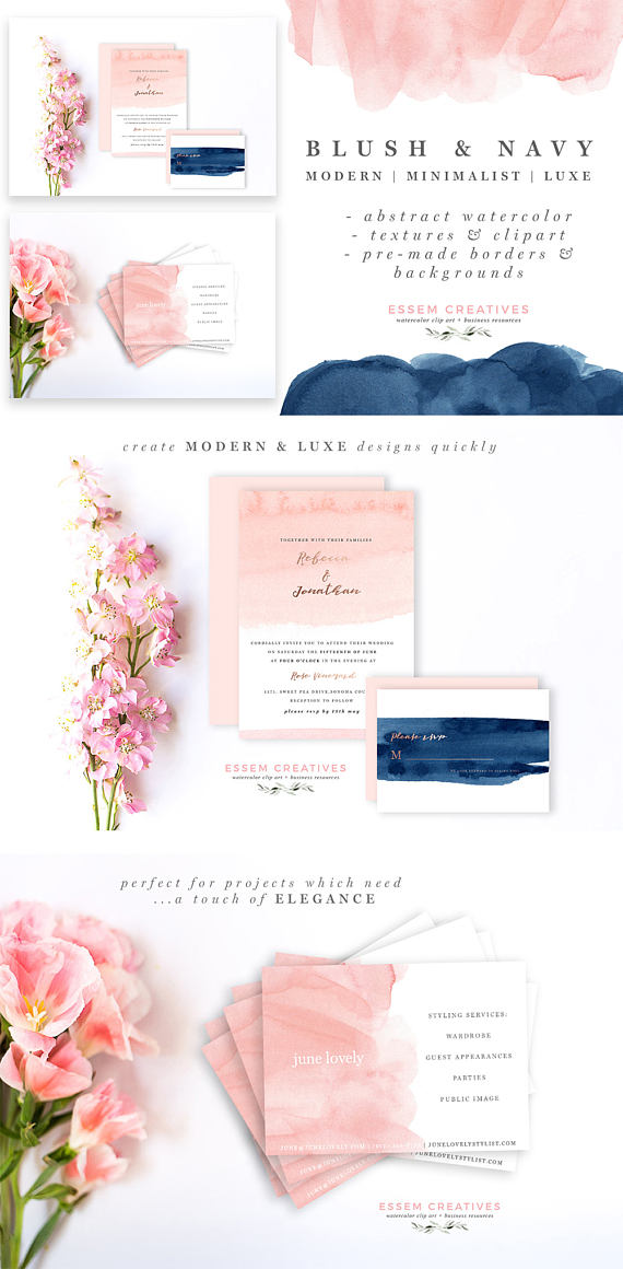 Brush clipart minimalist. Blush and navy abstract