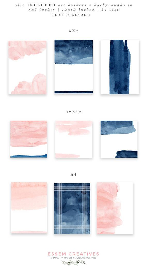 Blush and navy abstract. Brush clipart minimalist