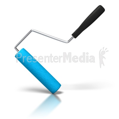 Angled home and lifestyle. Brush clipart paint roller