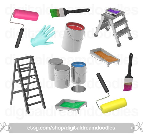 Brush clipart paint roller. Painting can image bucket