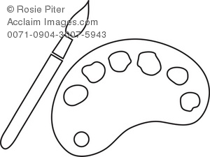 Illustration of a paintbrush. Brush clipart pallet