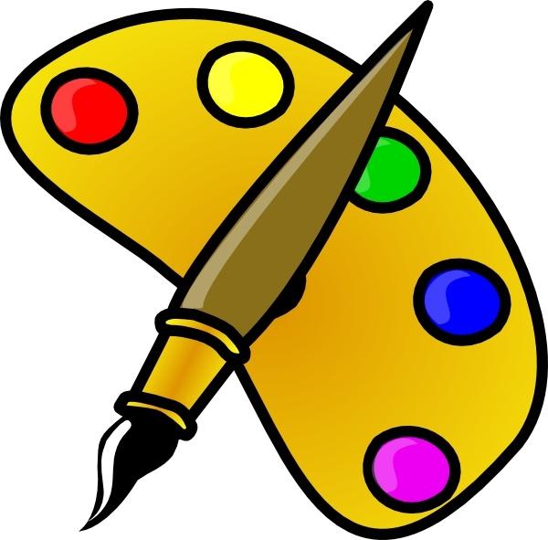 Brush clipart pallet. Painter color palette with