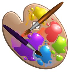 Paint pallete and brushes. Brush clipart pallet