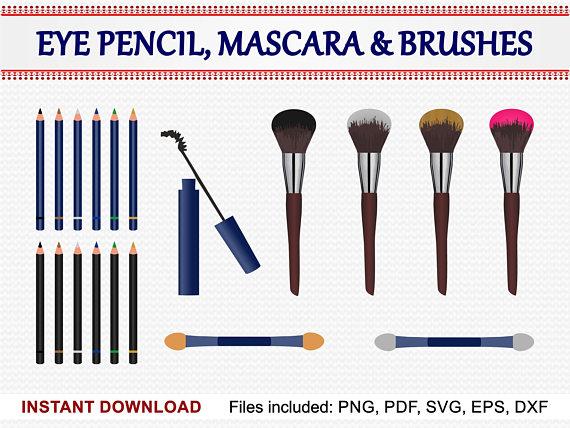 Eye pencil mascara set. Brush clipart pdf