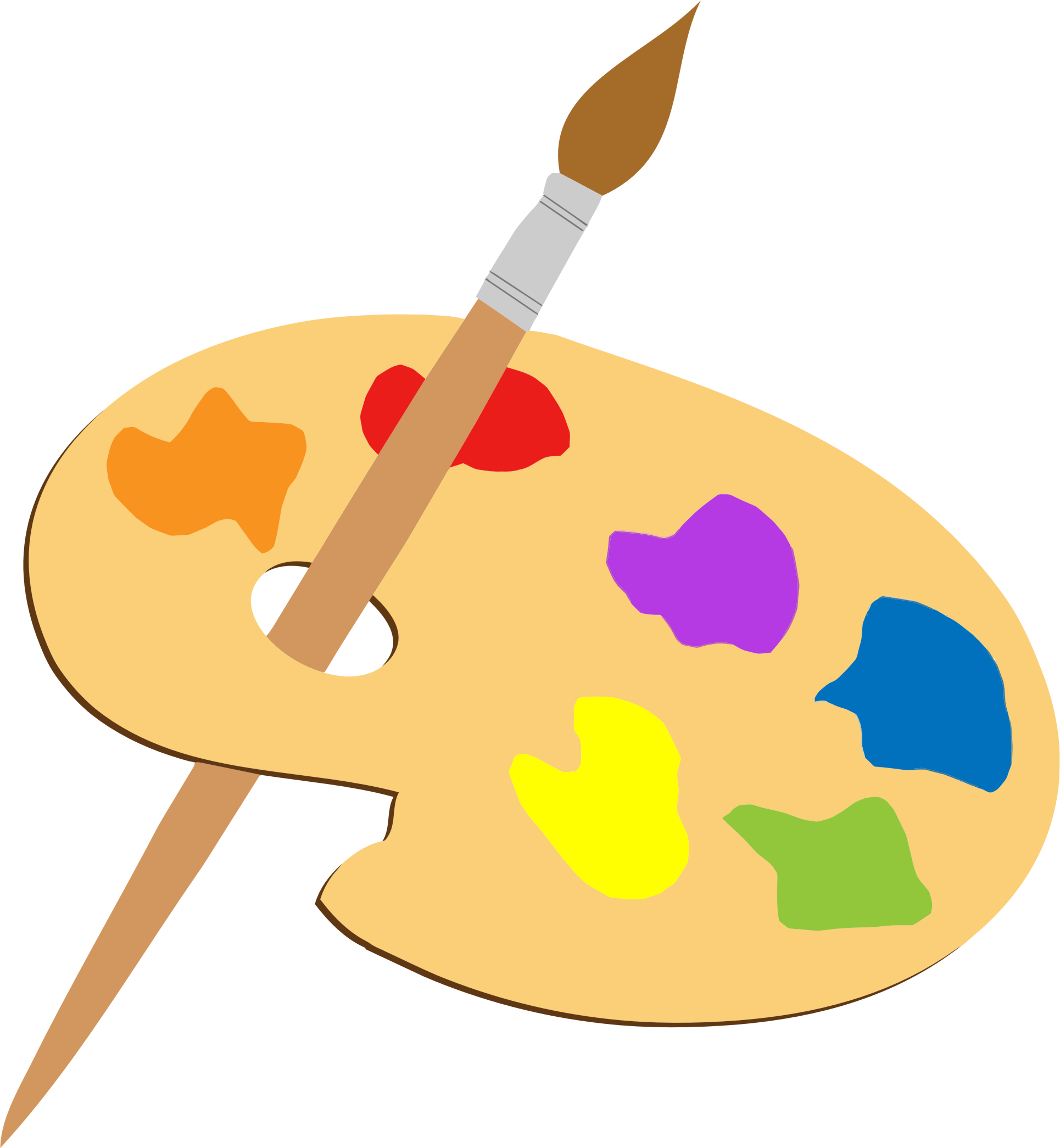 Artists palette and brush. Color clipart painting