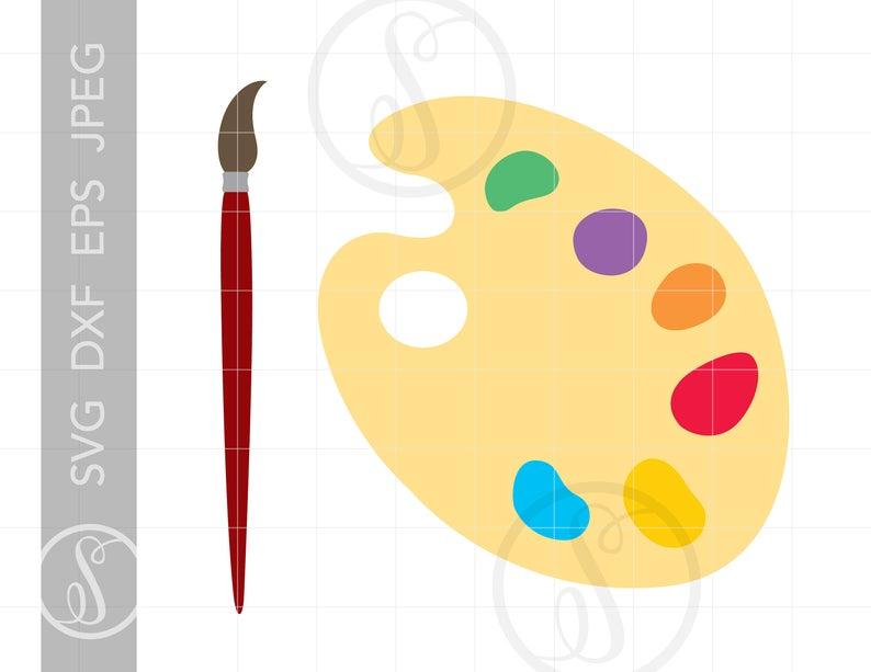 Paint palette svg cut. Brush clipart pdf