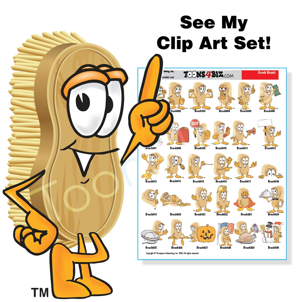 Brush clipart scrub brush. Clip art set