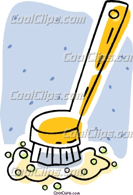 Brush clipart scrub brush. Kitchen panda free images