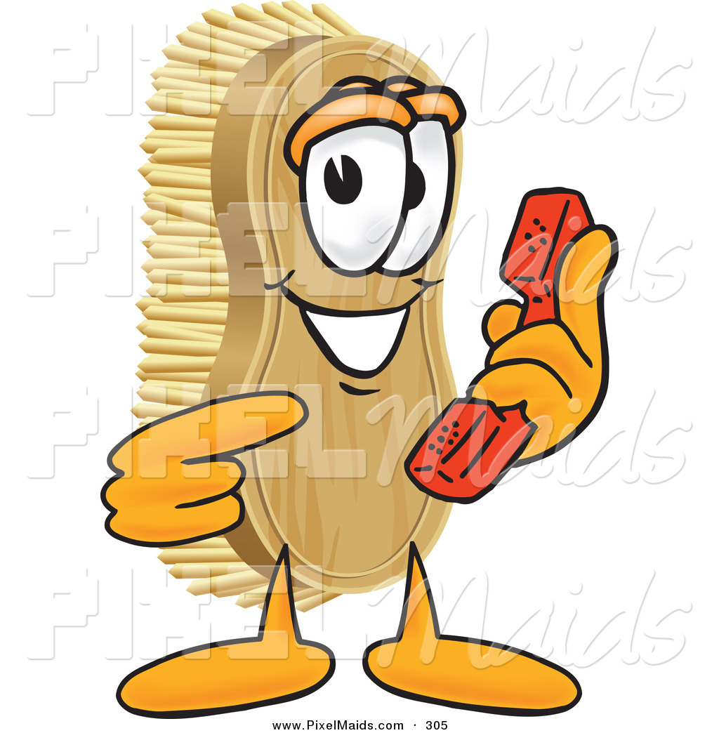 Of a grinning mascot. Brush clipart scrub brush