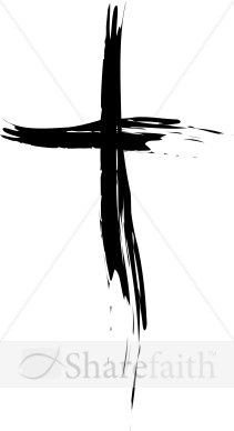 Cross painted in black. Brush clipart simple