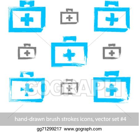Vector set of drawing. Brush clipart simple