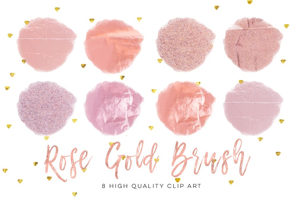 Rose gold circle strokes. Brush clipart simple