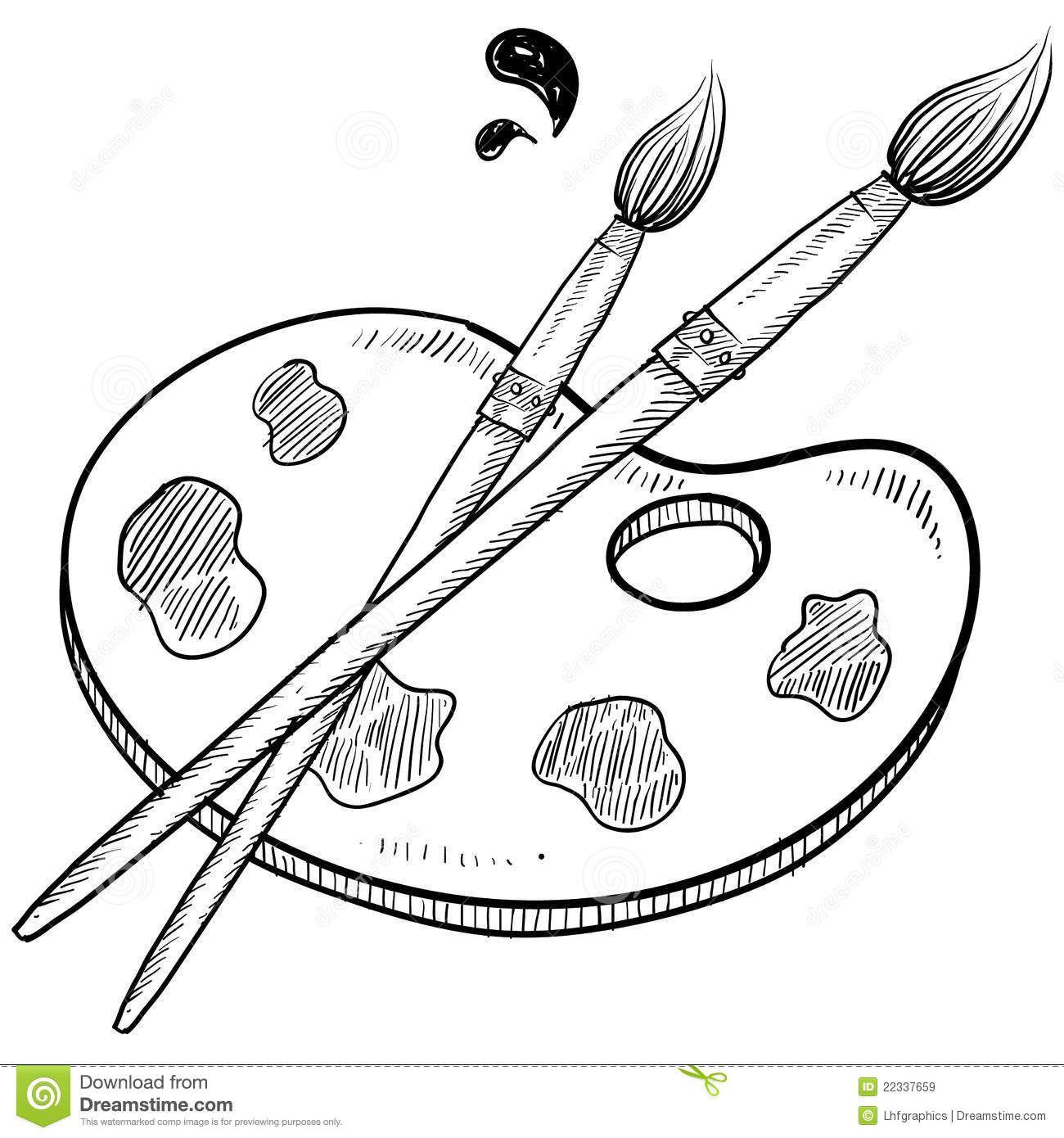 Brush clipart sketch. Paintbrush black and white